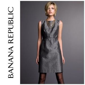 NWT Banana Republic Gray Houndstooth Dress 6